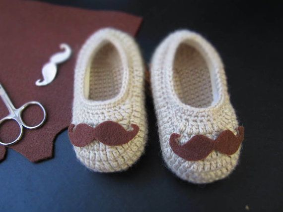 Brown Mustache Crochet Baby Booties  4 Sizes  Ready by MyMayaMade, $24.99
