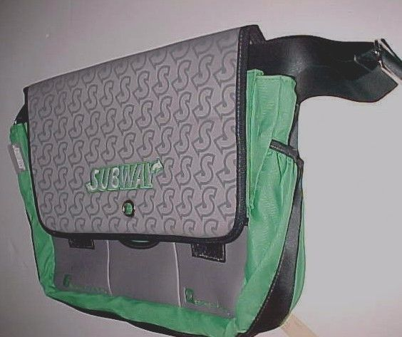 SUBWAY Fast Food Restaurant Green Neoprene Messenger Laptop Tablet Bag New #SUBWAY