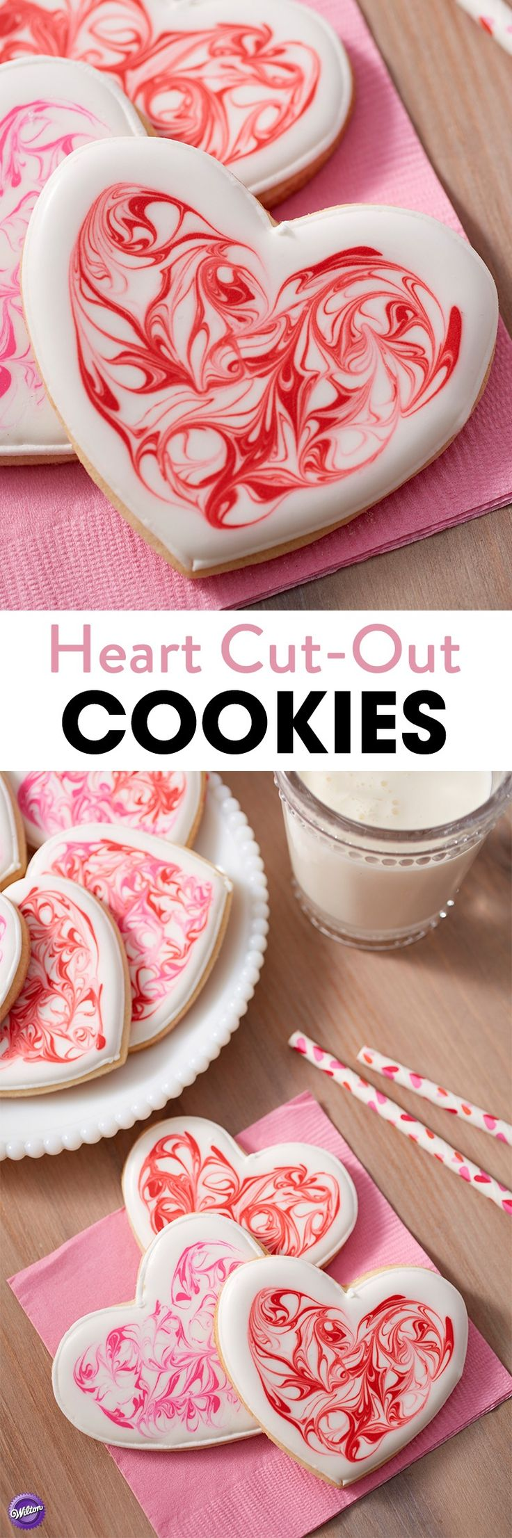 Perfect for special holiday celebrations, especially for Valentine's Day, these Heart Cut Out Cookies are covered in marbleized white, red and rose royal icing. Place one on each place setting to show your love.