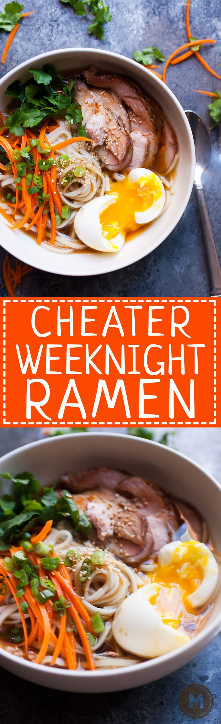 Cheater Weeknight Ramen: Some people spend years learning how to make the perfect bowl of ramen. I won't pretend that this is that. But, it's really good and actually doable for a home cook on a weeknight! A few shortcuts plus a few tricks makes for one great bowl of food! | macheesmo.com