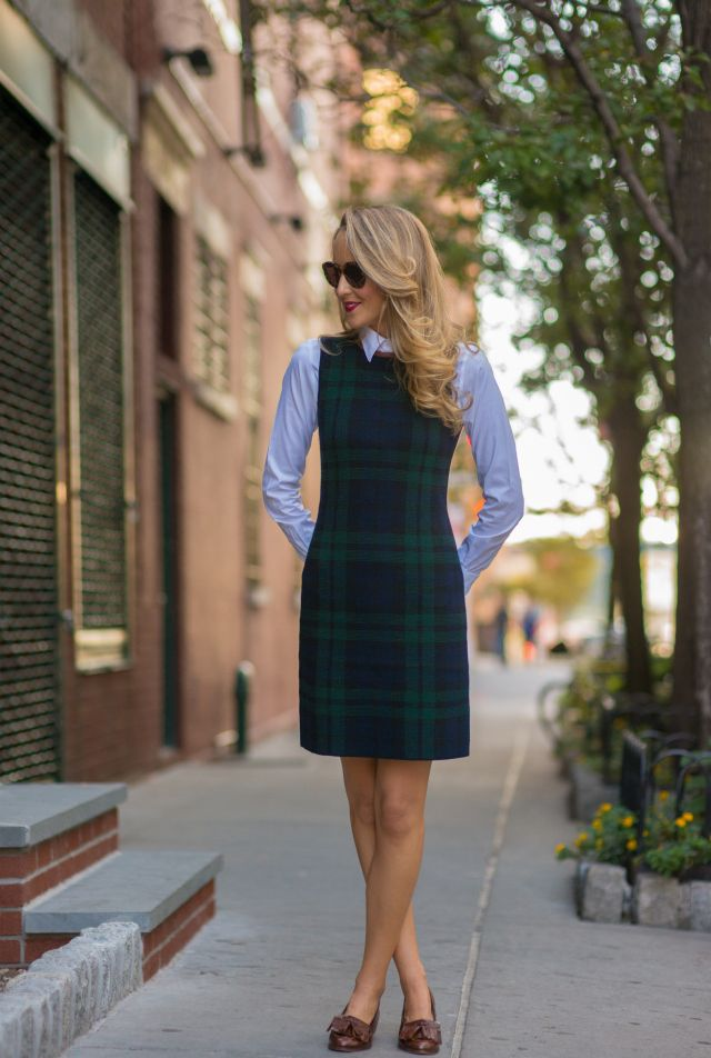 Love the plaid. Would love a sleeveless dress paired with a button down shirt like this. Even if it was a classic black dress that I can layer over a white shirt.