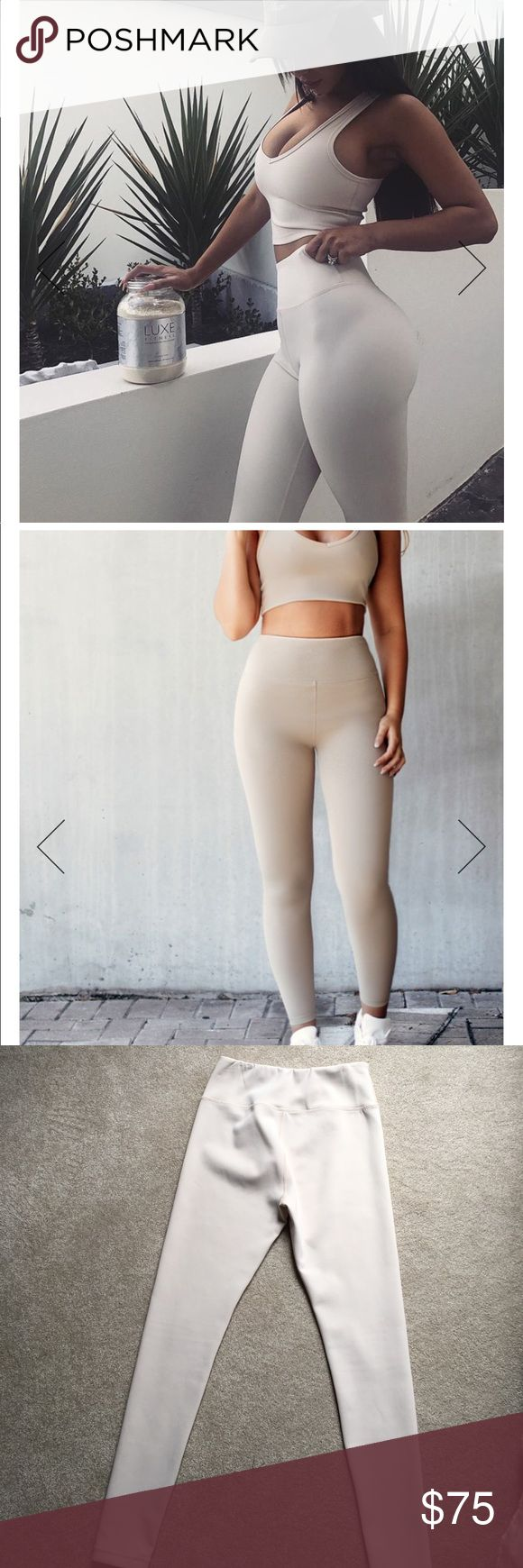 LUXE FITNESS LEGGINGS SAND (creamy beige) basically brand new worn once. luxe apparel Pants Leggings