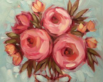 """Floral bouquet painting, 6x6"""" Original impressionistic oil painting of flowers, paintings of flowers"""