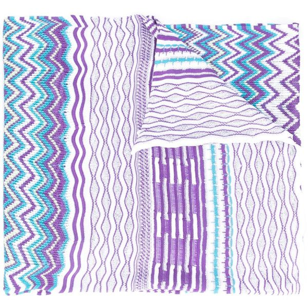 Missoni zig-zag knitted scarf (2 210 ZAR) ❤ liked on Polyvore featuring accessories, scarves, blue, missoni shawl, zig zag scarves, missoni scarves, colorful shawl and blue shawl