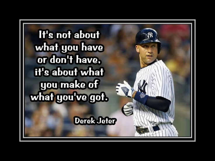 "Baseball Poster Derek Jeter NY Yankees Photo Quote Wall Art 5x7""- 11x14"" It's About What You Do With What You've Got   - Free USA Ship by ArleyArt on Etsy"