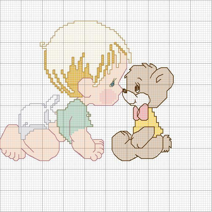 Schema punto croce Bambino-e-orso