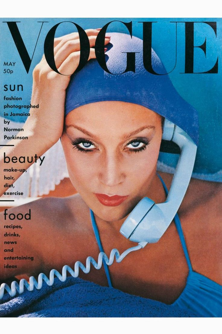 "Jamaica blue and beautiful. Make-up by sunshine and Alexandra de Markoff. Swimsuit, by Wiki, about £7, Barkers. Bathing cap, Britmarine. Towel, from Countess range at Harrods. Photographed by Norman Parkinson at Montego Bay   ""Jamaica blue and beautiful"" is the theme that resonates throughout this issue, and ""[i]Vogue[/i]'s eye view"" is ""of summer, sunshine and falling in love..."" with this Caribbean hotspot. Contemporary fashions by Yves Saint Laurent, Manolo Blahnik and Sonia Rykiel are…"
