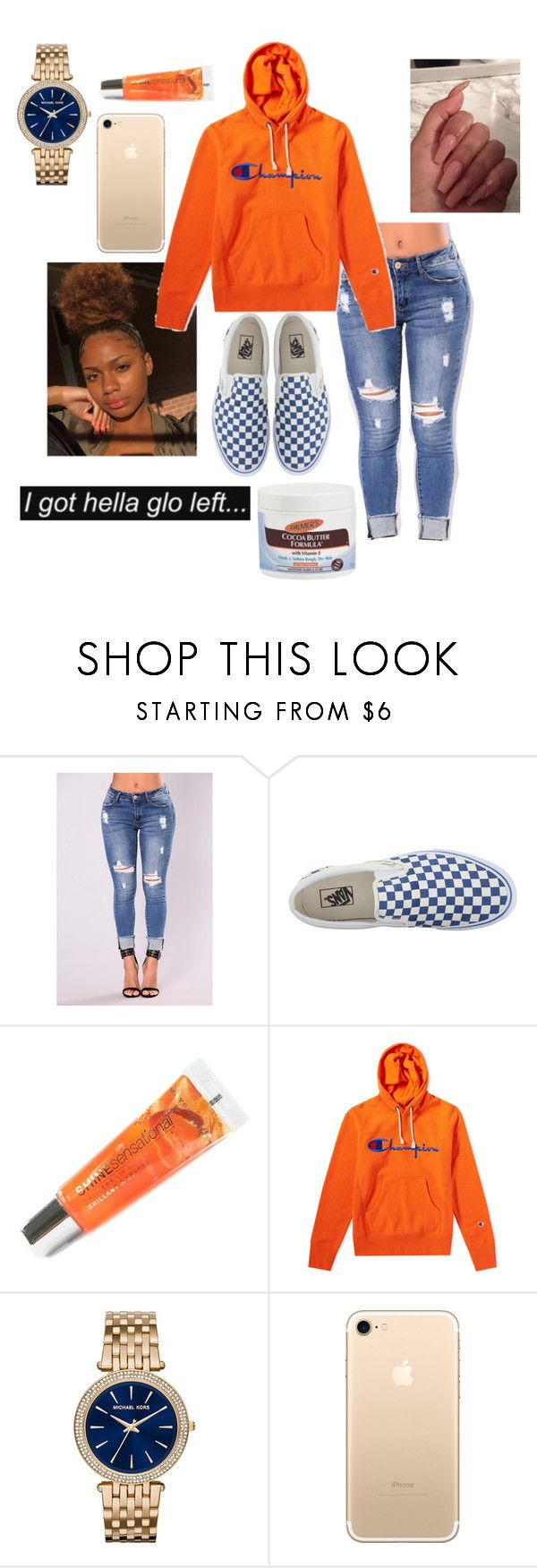 """glow✨"" by wavvyyyzarie ❤ liked on Polyvore featuring Vans, Maybelline, Champion, Michael Kors and Palmer's"