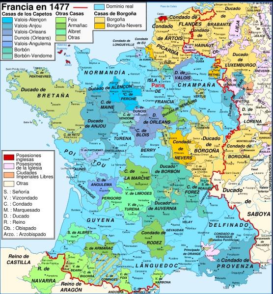 Mapa de Francia y el Ducado de Borgoña 1477, al momento de morir el ultimo duque de Borgoña en la batalla de nancy. Su hija Maria se caso Maximiliano de Austria (habsburgo).En las capitulaciones matrimoniales se estipuló que su segundo hijo sería quien heredase los territorios maternos, pero María falleció en un accidente de caballo antes de que eso aconteciese. Después de esta tragedia, el ducado de Borgoña fue incorporado a Francia, mientras que los Países Bajos pasaron a la Casa de…