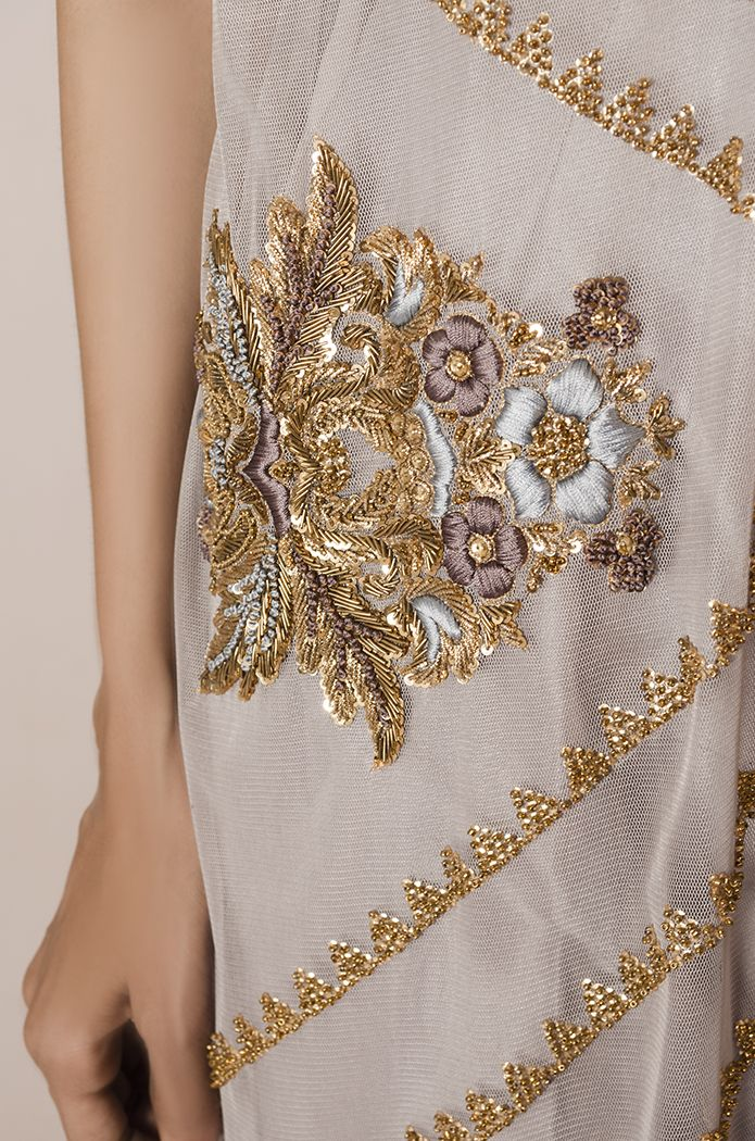 Lilac Zigzag. For queries, orders and appointments kindly email at info@tenadurrani.com or contact +92 321 232 4600. Visit www.tenadurrani.com to see the whole collecton.