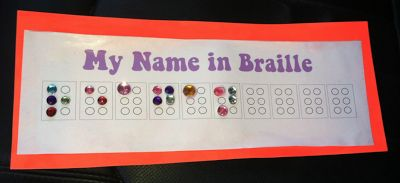 "Have a Girl Scout in the family? How about making these Brownie ""Senses"" Badges - My Name in Braille - at your next meeting?! Great for raising awareness among peers!"