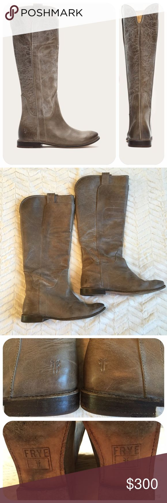 """Frye Paige Tall Riding Boots Grey These have been worn a few times. If you are familiar with Frye boots you know they wear amazingly and look better with some wear.   With overlapping front panels and intricate stitching, this standout riding boot boasts a unique, artisanal look. Made of beautiful full grain leather. Mini-pull tabs and notched back are just some of the finer details.  - Leather lined - Leather outsole - 14 1/2"""" shaft height - 14 3/4"""" shaft circumference - 1"""" heel height…"""