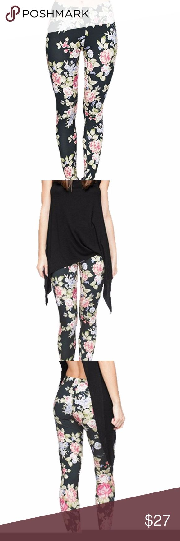 Black Leggings with Flower print Brand New leggings. The material consists of nylon and spandex, making the whole piece of leggings stretchy. Can fit thin or plump, short or tall, young or old.   One size 0-12 Pants Leggings