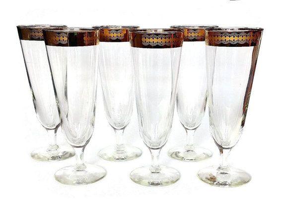 Mid Century Pilsner Glasses Gold Beer Glasses by NoNameCatVintage
