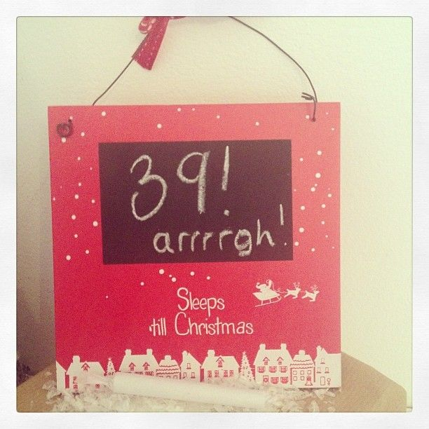 Pretty hanging wooden sign Blackboard area to write the sleeps till Christmas Includes a stick of chalk Great for children to do themselves and can
