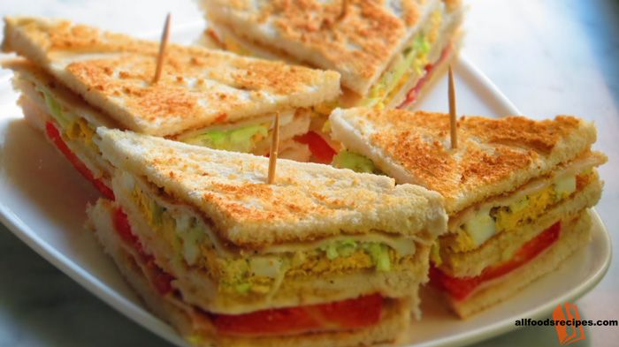 Veg Club sandwich – It's a veggie packed sandwich with mayonnaise which is light and healthy and requires very less time. #veg #sandwich    RECIPE : http://www.allfoodsrecipes.com/recipe/veg-club-sandwich/