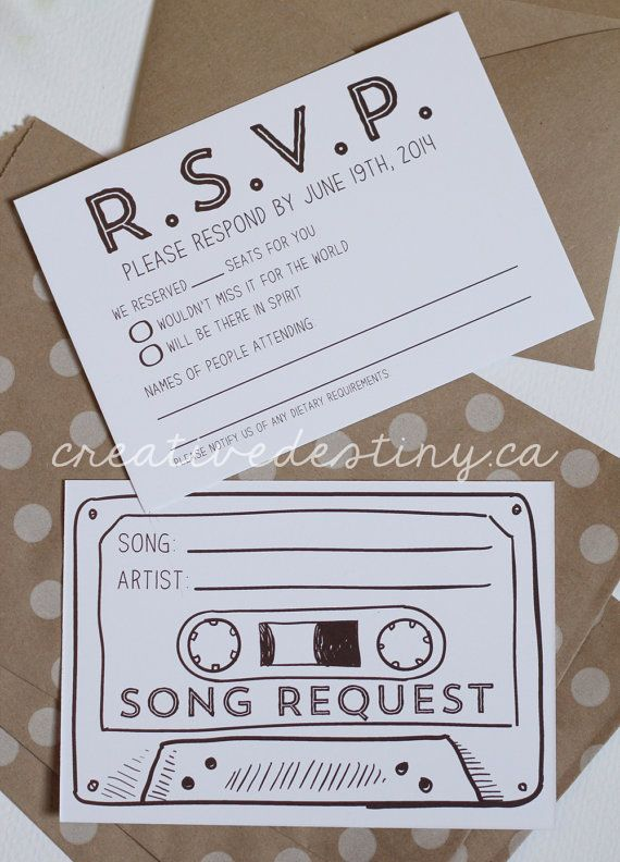 Size: 3.5 x 5 Double sided RSVP cards customized with your wedding RSVP date.    Side 1: RSVP information  Side 2: Cassette tape with song