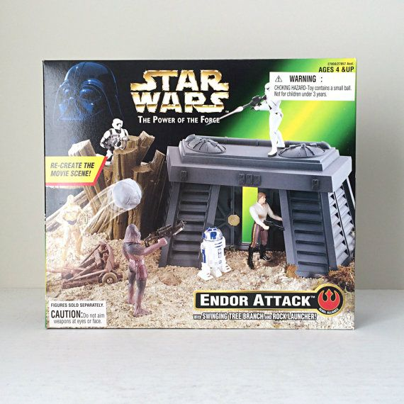 Vintage Star Wars Endor Attack Playset - 1990s Power of the Force Toy Line - Ewok Battle, Kids Toy from Return of the Jedi.