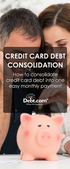 Want to consolidate credit card debt into one monthly payment? With Debt.com's debt consolidation, all of your debts are rolled into one easy payment.