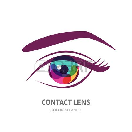 Vector occhio illustrazione con pupilla colorato. Abstract logo elemento di design. Concetto di design per lenti a contatto, ottico, negozio di occhiali, oculista, oftalmologia, trucco, viso e cosmetici.