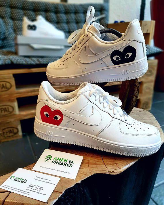 Nike Air Force 1 comme des garçons Red Black custom réalisé a la main sur  commande. c8d9872938be9