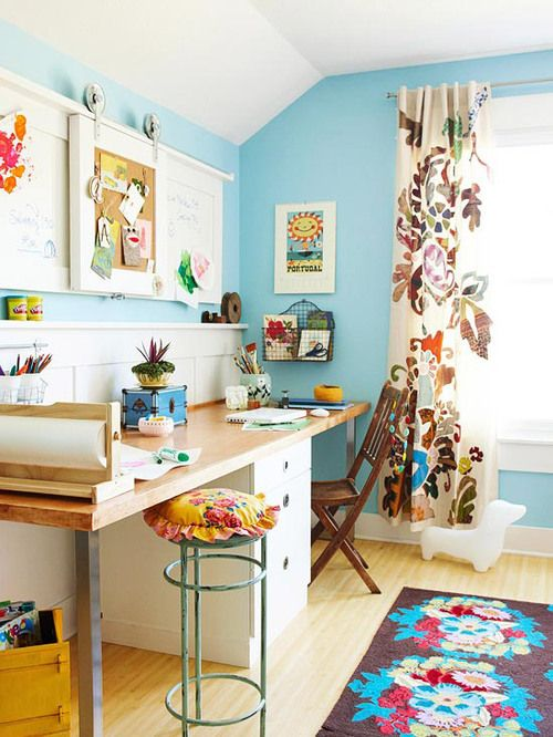 Craft SpaceWall Colors, Colors Crafts, Offices Spaces, Crafts Spaces, Blue Wall, Crafts Room, Workspaces, Bonus Room, Home Offices