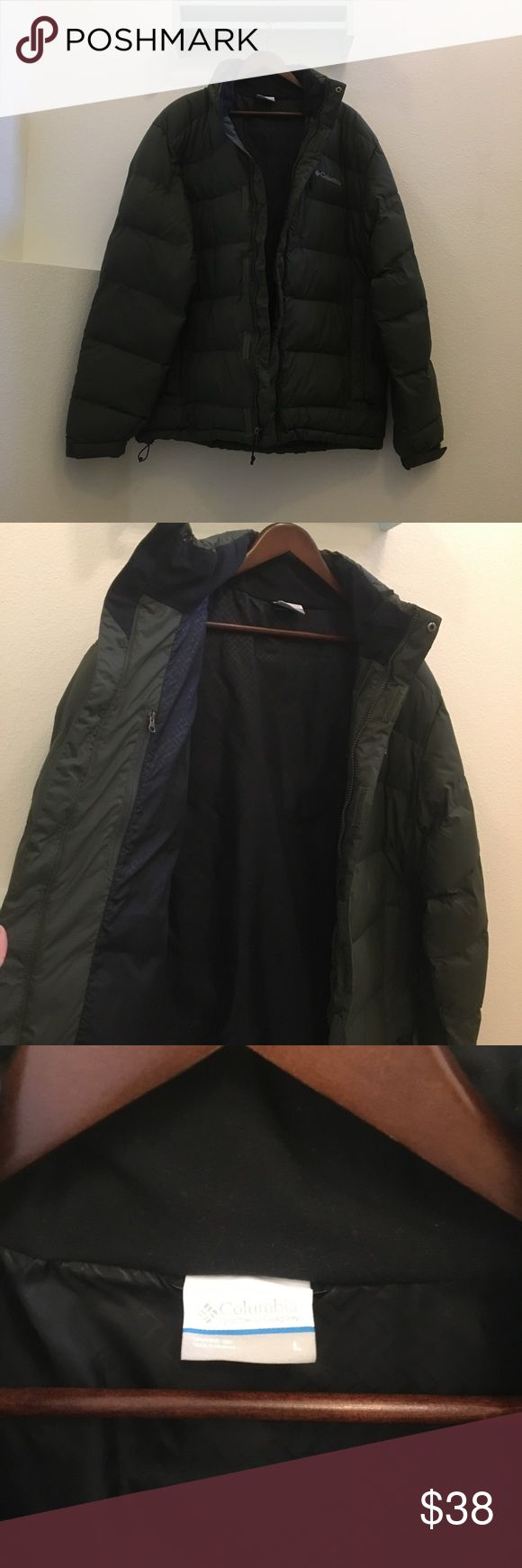 Columbia men's puffer coat NO TRADES!   Columbia men's army green puffer coat, size LARGE. In excellent lightly used condition.   Smoke/pet free home, all sales final.   I have zero control of shipping once in the hands of USPS. Columbia Jackets & Coats Puffers
