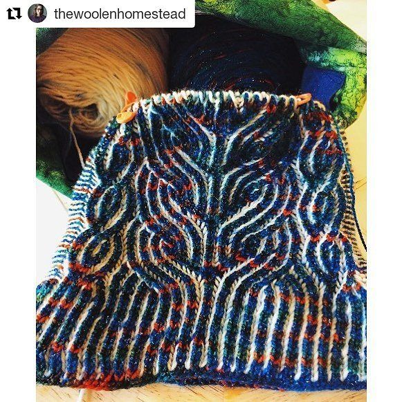 """Epic project!  . .  #Repost @thewoolenhomestead (@get_repost)  I am so mesmerized by brioche!! This is such a fun knit by @dreareneeknits called Vintage Prim. If you are looking for a good introduction to increases and decreases after you have learned the basic brioche stitch this is a great pattern!  Yarn is @countessablaze """"Big Fish in a Little Pond"""" and The Woolen Homestead in """"Baby It's Cold Outside""""  Project bag: @tracybrines13  Do you guys like knitting brioche?? What patterns are you…"""