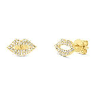0.17ct 14k Yellow Gold Diamond Pave Lips Stud Earrings