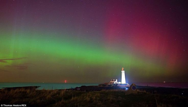 The Northern lights at St Mary's lighthouse, Whitley Bay. This display lasted over an hour and was one of the most vibrant seen this far south in the UK