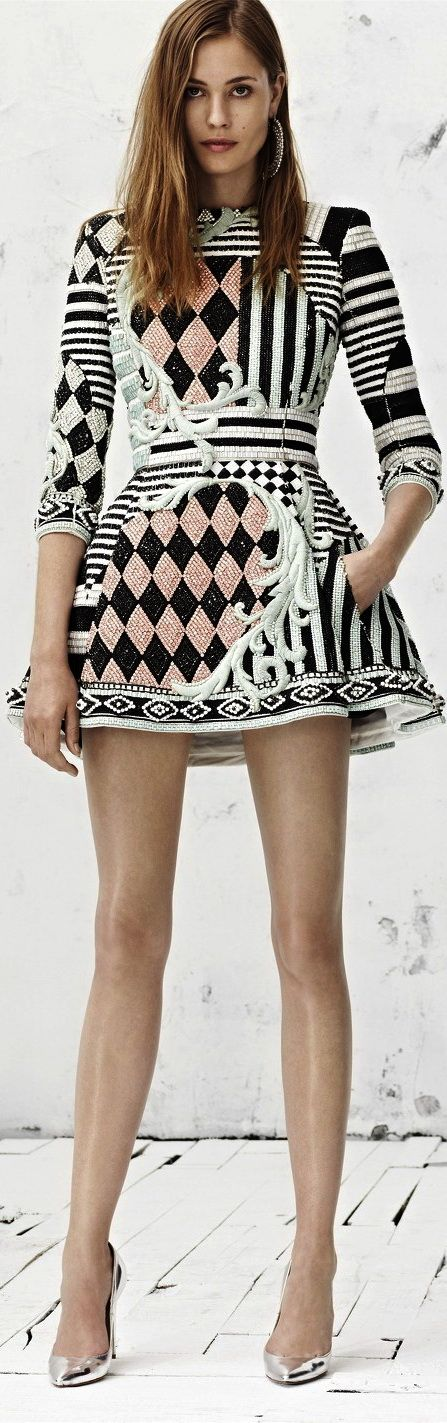 "Balmain-Resort-2013.  Seriously interesting and quirky mix of patterns.  I love stuff like this.  It may be a bit ""out there"" for a solo dress though.  Courage!"