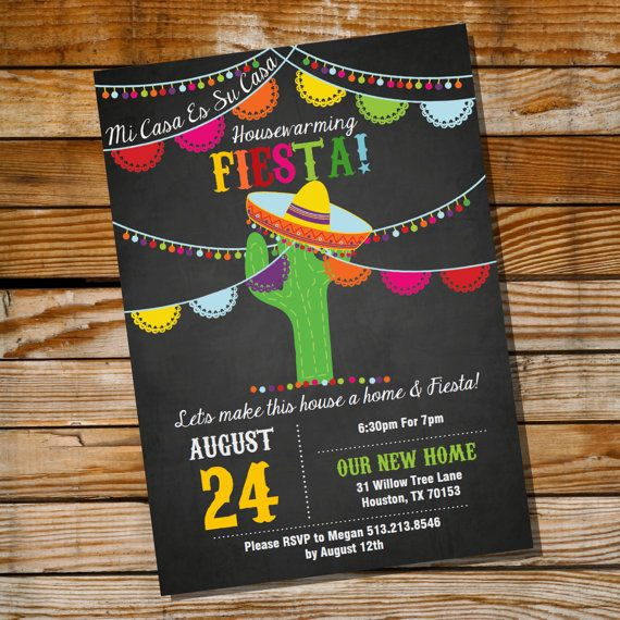 Mexican Fiesta Housewarming Invitation  by SunshineParties on Etsy, $5.00