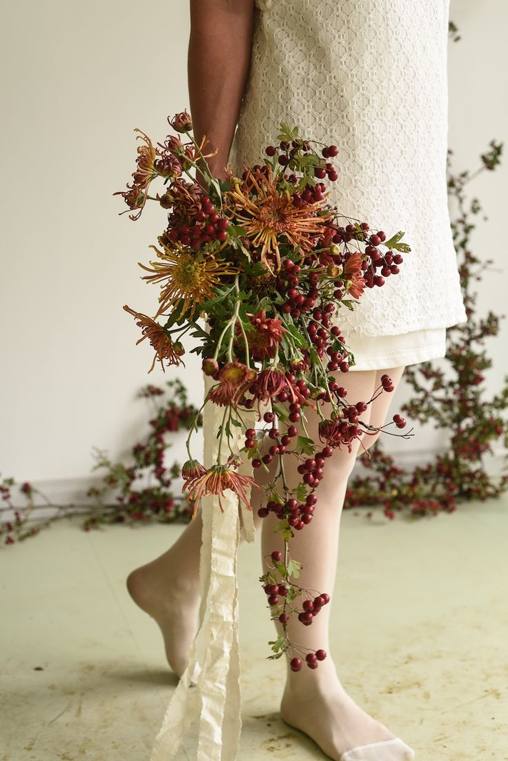 April Wedding, Installation, Hawthorn Arch, Berries, Chrysanthemums, Bouquet, Bridal, silk ribbon, autumn colours