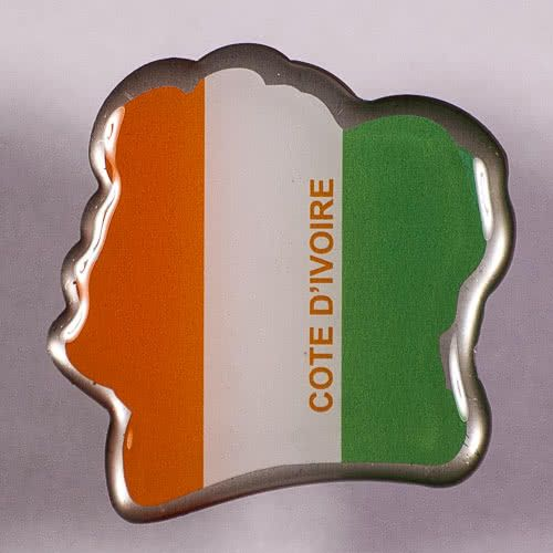 Metal Fridge Magnet: Cote d'Ivoire. Map and Flag of Ivory Coast (Map Shaped)