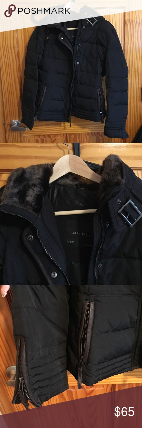 Zara Down Jacket Navy with brown trim and faux-fur lined collar. Collar also has zipper pocket to store the hood. Zipper pockets and details at sleeves. Zipper and button closure. Buckle feature on collar. Polyester down, very warm. Worn before, well loved. No stains, great condition. Zara Jackets & Coats