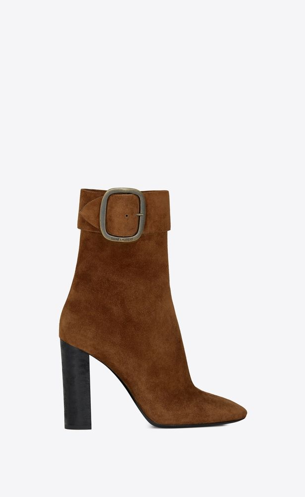 66d1ad7320a SAINT LAURENT Heel Booties Woman Joplin 105 ankle boot in caramel suede a_V4