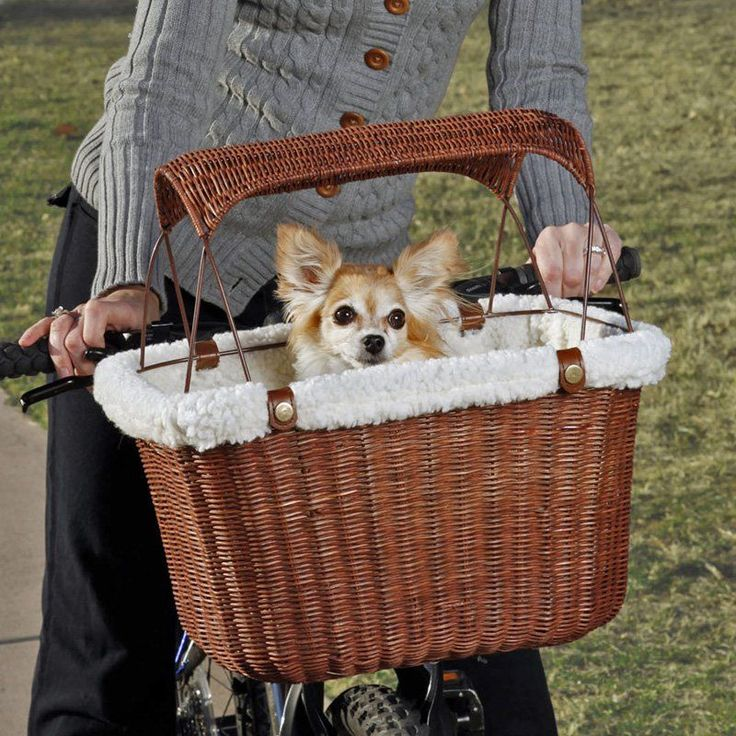 Tagalong Wicker Bicycle Basket - Perfect for the pet owner on the go, the Tagalong Wicker Bicycle Basket features a vintage look and traditional rattan construction. The wicker makes ...