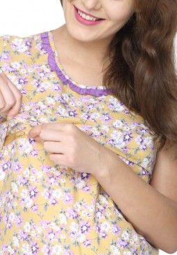 7eee559806ad2 Yellow-Printed-Feeding-Nighty | nursing cloths in 2019 | Maternity ...
