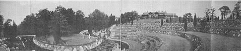 Early photo of Rosemary Farm amphitheater. The mansion is seen on top of the hill on the right. Long Island's Gold Coast-Ruins