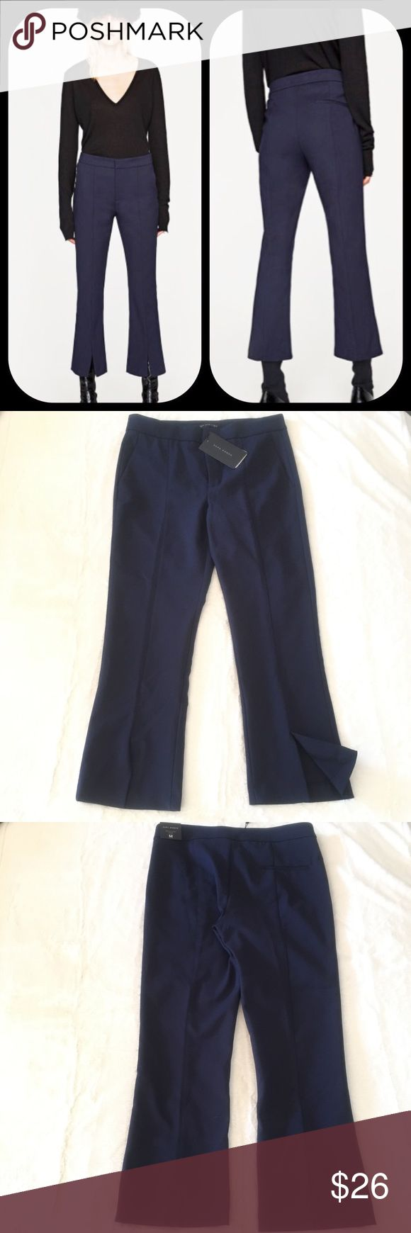 Zara Cropped Navy Trouser Cropped trouser with seam detail and a split flare.  Slits at the hem and a concealed metal hook and zip fastening in the front in a size M.  52% Cotton, 45% Polyester and 3% Elastane Zara Woman Pants Ankle & Cropped