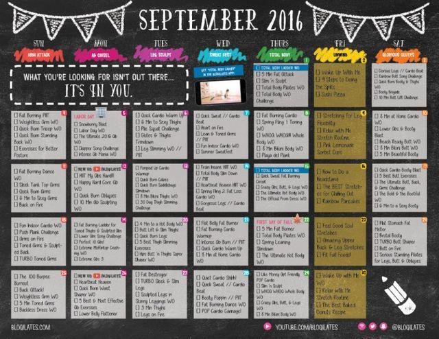 September 2016 Workout Calendar