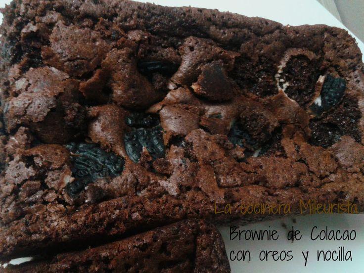 Brownie de Colacao con Oreos y Nocilla