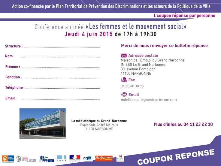 4 juin 2015 Coupon Réponse « les femmes et le mouvement social » avec les tout jeune club FACE AUDE