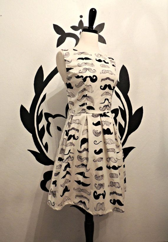Mustache Print Pleated Dress - Quirky Whimsical Dress for Mustache Lovers on Etsy, $58.50