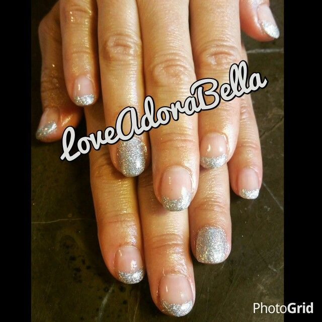Beautiful rainbow sliver glitter french nails w/accent glitter nail! #gelnails #gelpolish #glitternails #glitterfrench #french #rainbowsliver #glitter #accentnail #nails #beautiful #stunning #youngnails #loveadorabella #followme  To make an appointment please call me 480.278.5847 50% off 1st appointment! Clean and sanitary home salon!