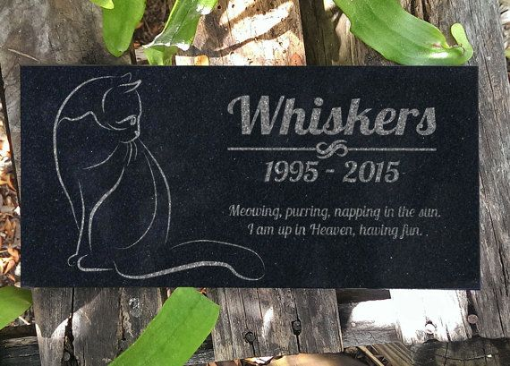 Personalized Cat Memorial  Black Granite Stone Pet Cat Grave Marker Engraved In Memory of Headstone Custom Engraved Garden Memorial Stone