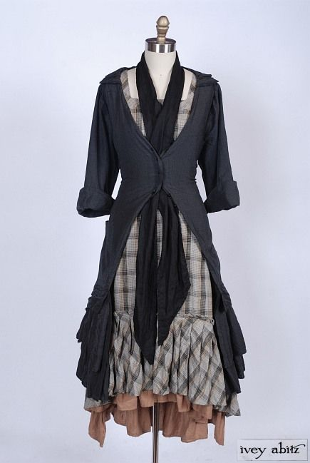 Fall Look no. 5 features the Everett Duster Coat in Chimney Sweep Old World Silk, High Water Length. And note the Evie Frock in plaid providing a layering base that stands on its own. Several outfits could be made from the pieces in this one ensemble. - Ivey Abitz