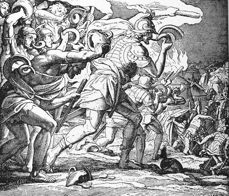 Bilder der Bibel – Gideon besiegt die Midianiter – Julius Schnorr von Carolsfeld   – Bilblische Bilder und Zeichnungen