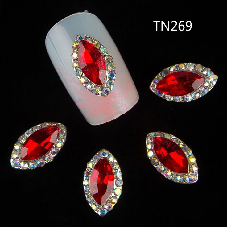 10 Stks/partij 3D Rode Crystal Marquise Paard Oog Strass Nail Art Legering Studs Glitter AB Rhinestone Decoraties Voor Nagels TN269