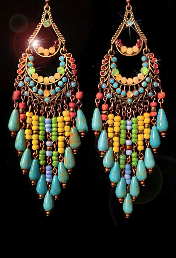 Genuine Turquoise Magnesite Gemstone Beaded Chandelier Earrings- Large, Ethnic, Native Inspired-MTO. $56.00, via Etsy.
